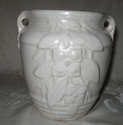 """Vintage 1920s Nelson McCoy Small Ring Double Handle Floral Vase, Matte White 7"""""""