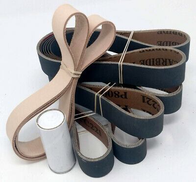 1x30 in. Leather Honing Belt SUPER STROP + 15 Pack Sanding Belt Assortment