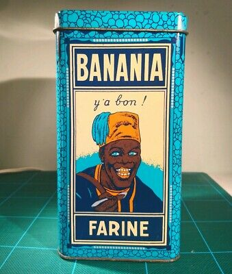 Antique Banania French Cafe Lithograph Tin Plate Advertising Rare Vintage Box