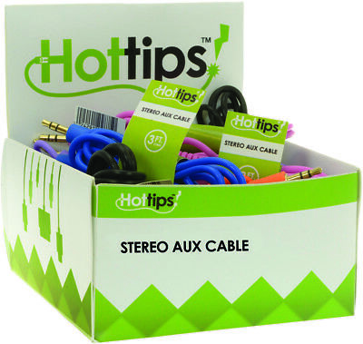Hottips Tray Pack Audio Cable Assorted- 24-count - CASE OF 24