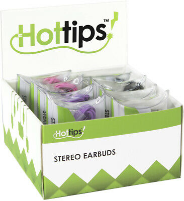 Hottips Tray Pack Stereo Ear Bud Assorted 8-count - CASE OF 8