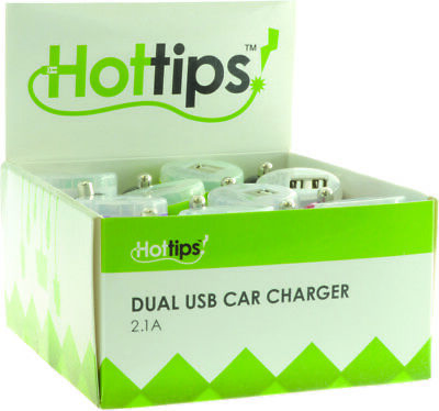 Hottips Tray Pack 2.1A Dual USB Car Charger- 16-count - CASE OF 16