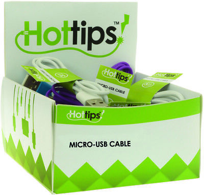 Hottips Tray Pack Micro USB Cable Assorted- 6 Packs of 24 - CASE OF 144
