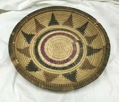 Large Antique Vintage Paiute Native American Indian basket circular Hand Woven