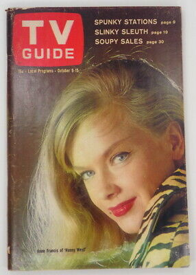 """TV Guide Oct. 9, 1965 ~ Anne Francis of """"Honey West"""" on Cover ~ NY Metro Market"""