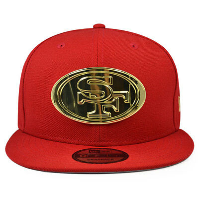 9381a0b3 San Francisco 49ers METAL BADGE Snapback 9Fifty New Era NFL Hat -  Scarlet/Gold