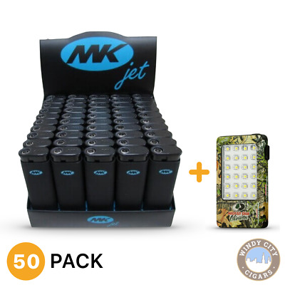 50 Full Size MK JET Grip Disposable Cigarette Lighters, All Purpose +LED Light