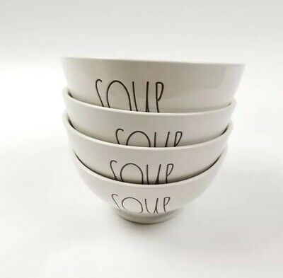Rae Dunn Soup Bowls Cereal Set of 4 LL Large Letter Ceramic Ivory Farmhouse New