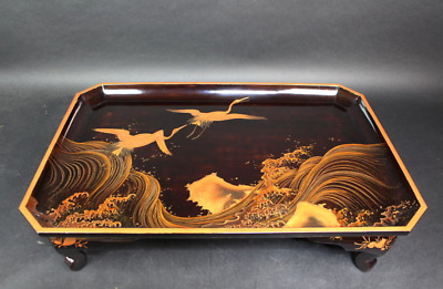 Antique Japanese Lacquer Makie Low Table Flying Two Crane Birds