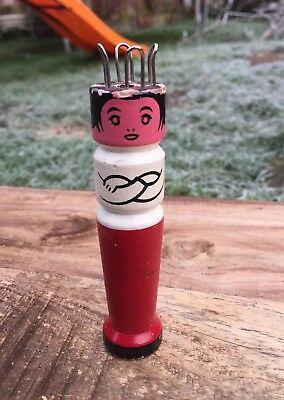 Vintage French Wooden Knitting Dolly Loom Hand Painted