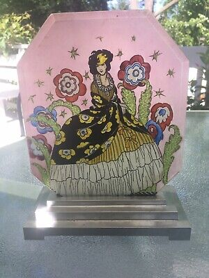 Art Deco Hand Painted Glass Panel Lamp  1920s