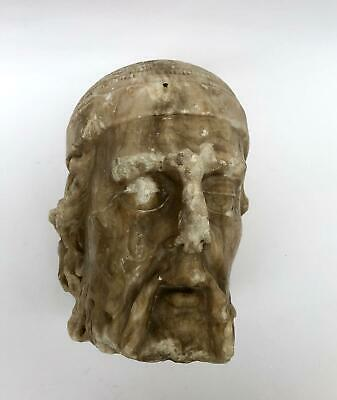 a very rare medieval  alabaster or marble jewish torso head of a jew or rabbi