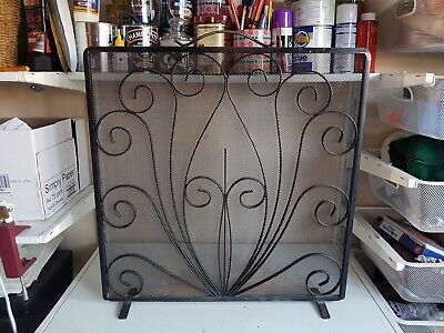 Large Ornate Black Wrought Iron Fire Guard Fireplace Surround Screen Protector