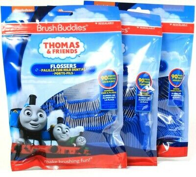 3 Bags Brush Buddies 90 Ct Thomas & Friends Remove Food & Plaque Flossers