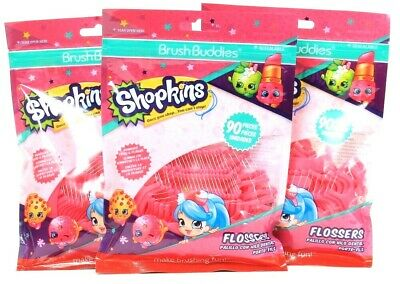 3 Bags Brush Buddies 90 Ct Shopkins Removes Food & Plaque Easy To Use Flossers