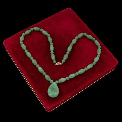 Antique Vintage Art Deco Mid Century 14k Gold Chinese Chrysoprase Bead Necklace