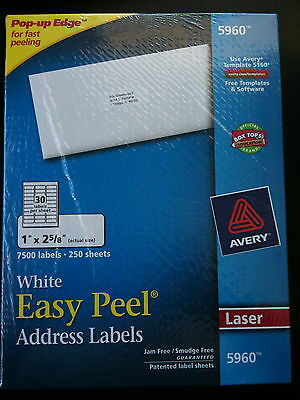 Avery 5960  White Easy Peel Address Labels-250 Sheets/7,500 Labels/Free Ship