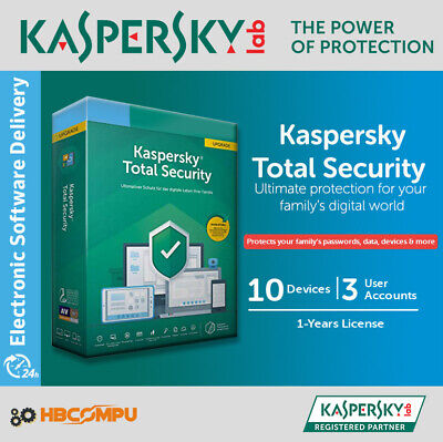 Kaspersky Total Security 10 Devices | 2019 | 1 Year | Download | Code Key Only