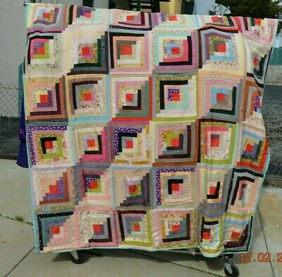 Antique Vintage LOG CABIN QUILT-1930-40s Hand Pieced hand made mix fabrics