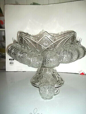 Antique clear pressed glass punch bowl & stand AZTEC by McKEE & Bro.12 cups