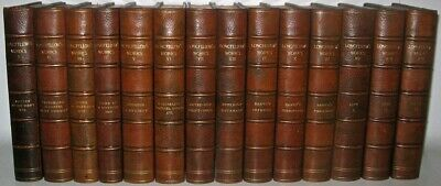 LEATHER Set;Works of LONGFELLOW!Tennyson Emerson Poetry Dante Complete RARE!gift