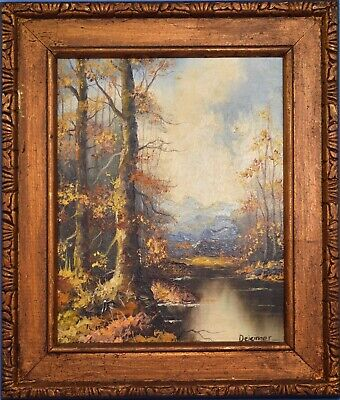 Vintage Original Oil Painting On Board Mountain Trees Landscape Signed