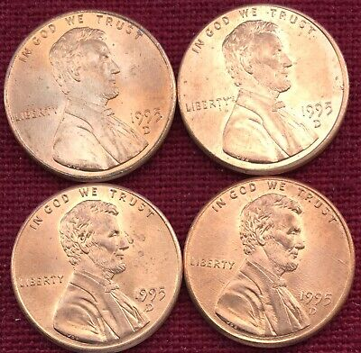 1995 D Lincoln Memorial Cent / Penny  BU - Lot Of Four.