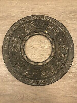 "Vintage Antique 15"" Iron Round Stove Pipe Surround Circle Vent Heating Register"