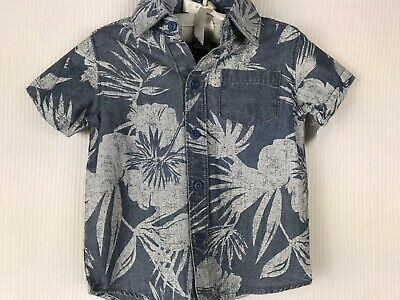 Carters Boy Size 12 Mo Short Sleeve Hawaiin Blue Button Down Collar Shirt Cotton