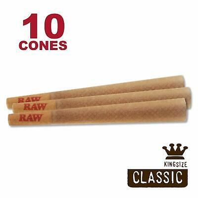 RAW 10 Classic King Size Cones, 109mm Pre Rolled Hemp Cones, W Gallery Box