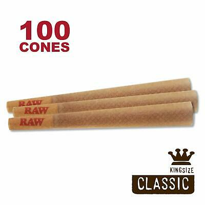 RAW 100 Classic King Size Cones, 109mm Pre Rolled Hemp Cones, W Gallery Box