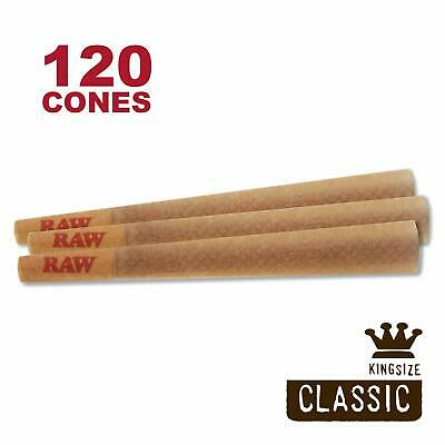 RAW 120 Classic King Size Cones, 109mm Pre Rolled Hemp Cones, W Gallery Box