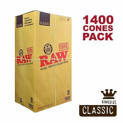 RAW 1400 Classic King Size Cones - Pure Hemp 109mm Pre Rolled Cones 26mm Filter