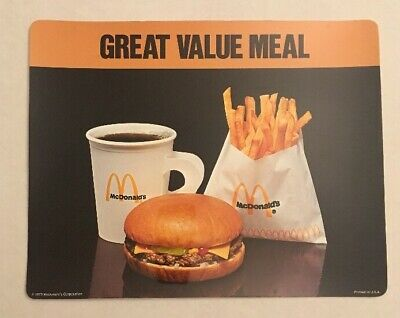 Mcdonald's 1975 Great Value Meal Laminated Advertising Sign. 9x11
