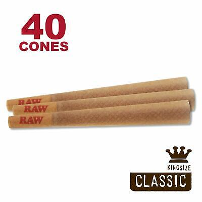 RAW 40 Classic King Size Cones, 109mm Pre Rolled Hemp Cones, W Gallery Box