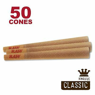 RAW 50 Classic King Size Cones, 109mm Pre Rolled Hemp Cones, W Gallery Box