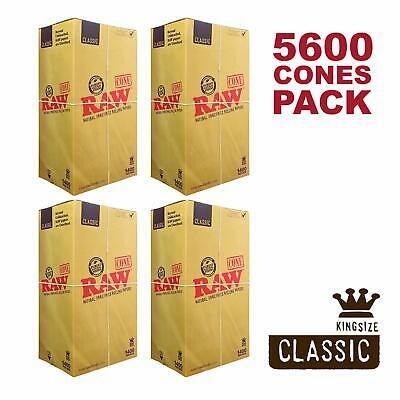 RAW 5600 Classic King Size Cones, 109mm Pre Rolled Hemp Cones, 4 W Gallery Boxes