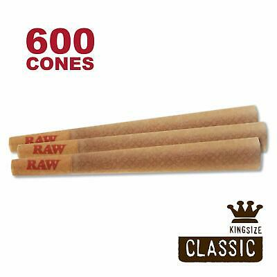 RAW 600 Classic King Size Cones, 109mm Pre Rolled Hemp Cones, W Gallery Box