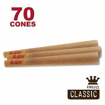 RAW 70 Classic King Size Cones - Pure Hemp 109mm Pre Rolled Cones 26mm Filter