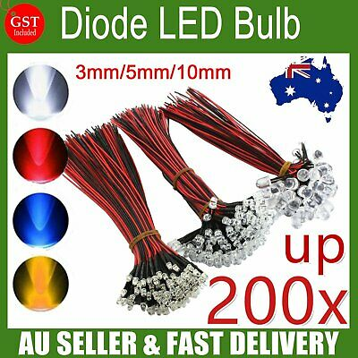DC12V 3mm/5mm/10mm Prewired Emitting Diode LED Bulb Single Color Light Wholesale