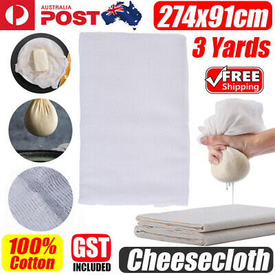 100% Cotton Cheesecloth White 3 Yards Reusable Great Filter Strainer for Cheese