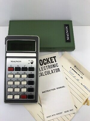 Vintage LED calculator MAGNON With Case, Original Instructions And Warranty Card