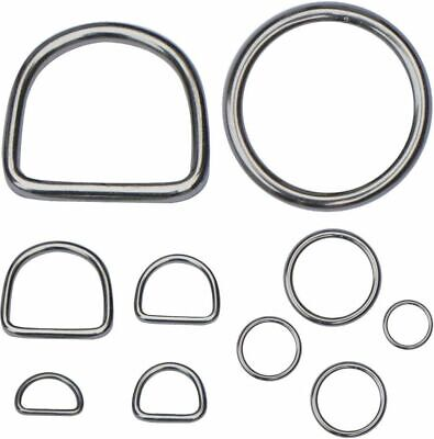 Stainless Steel D-Rings & O-Rings Welded Buckles for Webbing Leather Craft DIY