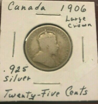 1906  Large Crown Canadian  25 Cents Quarter Circulated Coin in VG condition