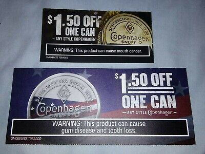 Two $1.50 On 1 Can Of Any Style Copenhagen (Dipping Tobacco) Coupons 7/31 & 9/30