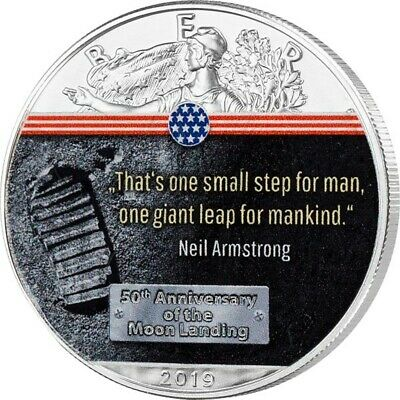 50 Years Moon Landing First Step on Moon - 1 Dollar USA 2019 Silver