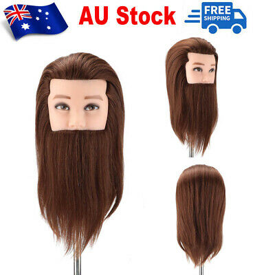 "14"" Salon 100% Real Hair Men's Beard Hairdressing Training Male Head Mannequin"