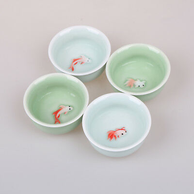 Chinese Tea Cup Porcelain Celadon Fish Teacup Set Teapot Drinkware Ceramic IO
