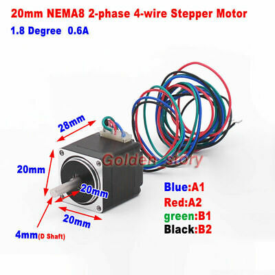 NEMA8 Hybrid Stepper Motor 1.8 Degree 2-Phase 4-Wire D-Shaft Robot 3D Printer