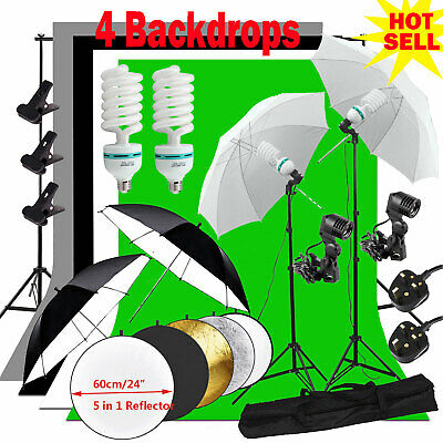 Photography Studio Backdrop Soft Umbrella Lighting Kit +Background Support Stand